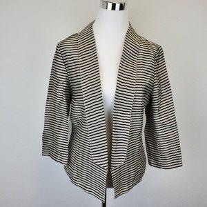 Women's Ann Taylor Loft Black Cream Striped Blazer